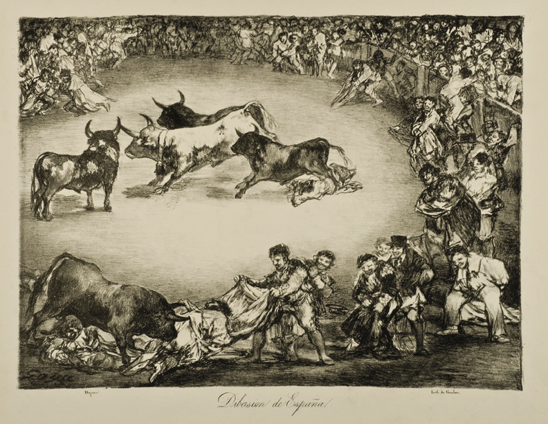 Francisco de Goya (Spanish, 1746–1828), The Spanish Entertainment (Diversión de España) from The Bulls of Bordeaux (Los Toros de Burdeos). Lithograph, 1825. 11 13/16 x 16 in. (30 x 40.6 cm). Toledo Museum of Art, Museum Purchase, 1954.23c