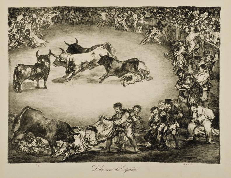 Francisco de Goya (Spanish, 1746–1828), The Spanish Entertainment (Diversión de España) fromThe Bulls of Bordeaux (Los Toros de Burdeos). Lithograph, 1825. 11 13/16 x 16 in. (30 x 40.6 cm). Toledo Museum of Art, Museum Purchase, 1954.23c