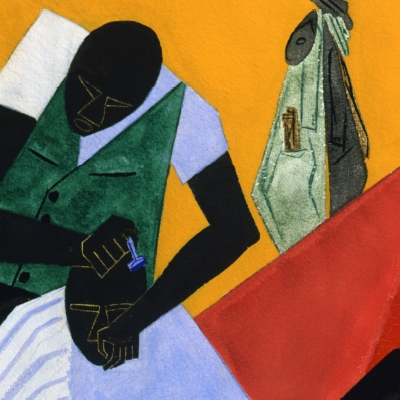 Jacob Lawrence (American, 1917-2000) Barber Shop. Gouche on paper (detail), 1946, 1975.15