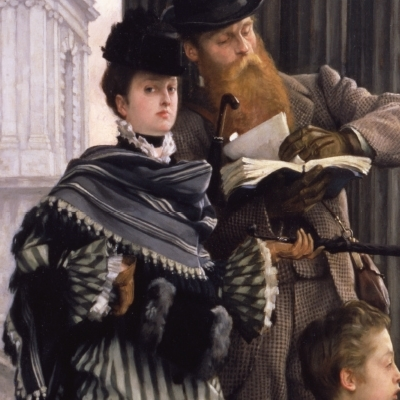 James Tissot (French, 1836-1902), London Visitors. Oil on canvas (detail), ca. 1874, 1951.409