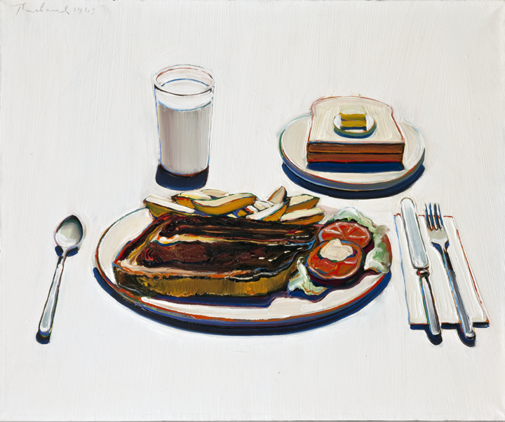 Wayne Thiebaud (American, born 1920), Roast Beef Dinner (Trucker's Supper). Oil on canvas, 1963.  Purchased with funds from the Libbey Endowment, Gift of Edward Drummond Libbey, by exchange, 2009.65