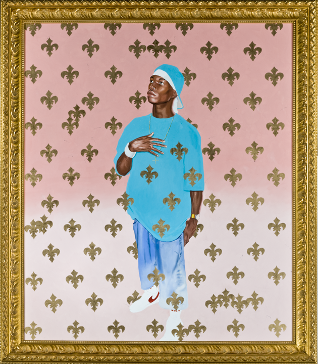 Kehinde Wiley (American, born 1977), Saint Francis of Paola. Oil on canvas in artist's frame, 2003 Gift of Charles L. Borgmeyer, Mrs. Webster Plass, and C.W. Kraushaar, by exchange, 2005.290