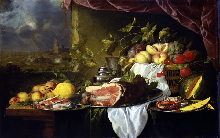 Jan Davidsz. de Heem (Dutch, 1606–1684), Still Life with a View of the Sea. Oil on canvas, 1646. Purchased with funds from the Libbey Endowment, Gift of Edward Drummond Libbey, 1955.33