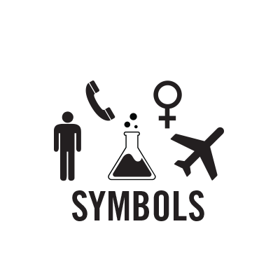 "Black and white symbols of a man, phone, erlenmeyer flask, venus symbol, and a plane above the word ""symbols""."
