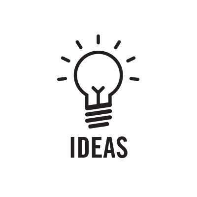 "A black and white line drawing of an illuminated lightbulb above the word ""ideas""."