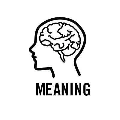 "A black and white line drawing of a head with a visible brain inside, above the word ""meaning""."