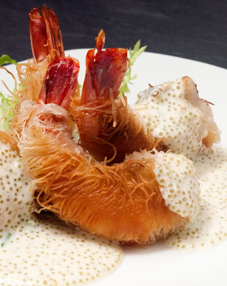 Shrimp Kataif with tobiko sauce