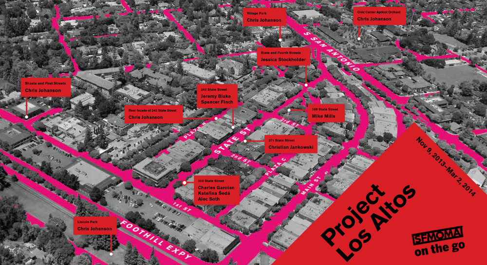 SFMOMA's Project Los Altos exhibition locations throughout downtown Los Altos.