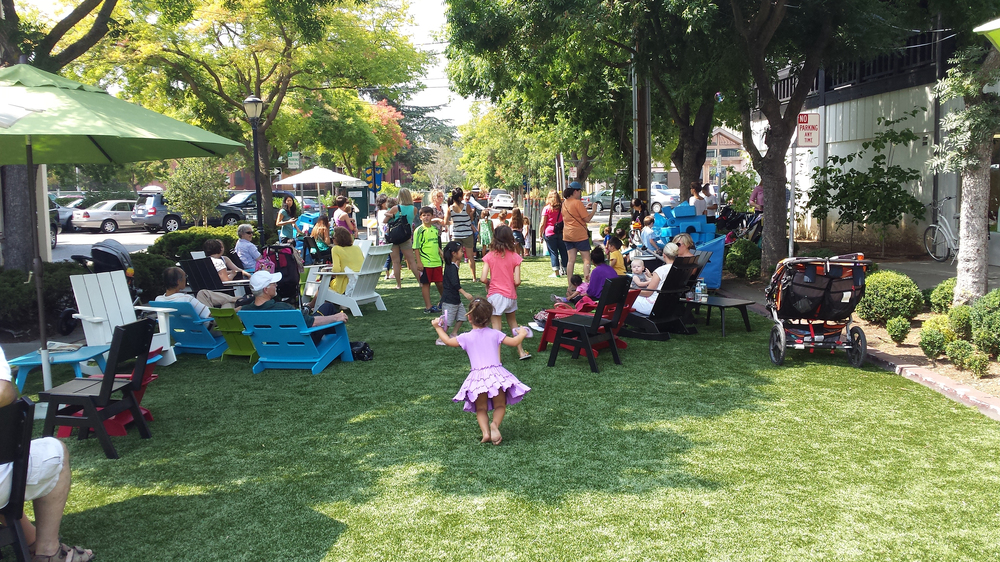 Frolicking on the Third Street Green, Aug 3 - 31st, 2014.