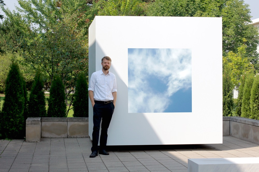 David Wallace Haskins Skycube, 2015 Steel, glass, far infrared light film, limestone 96 x 96 x 96 in. (244 x 244 x 244 cm) 19 x 19 x 48 in. (48 x 48 x 122 cm) Elmhurst Art Museum Skycube sculpture series