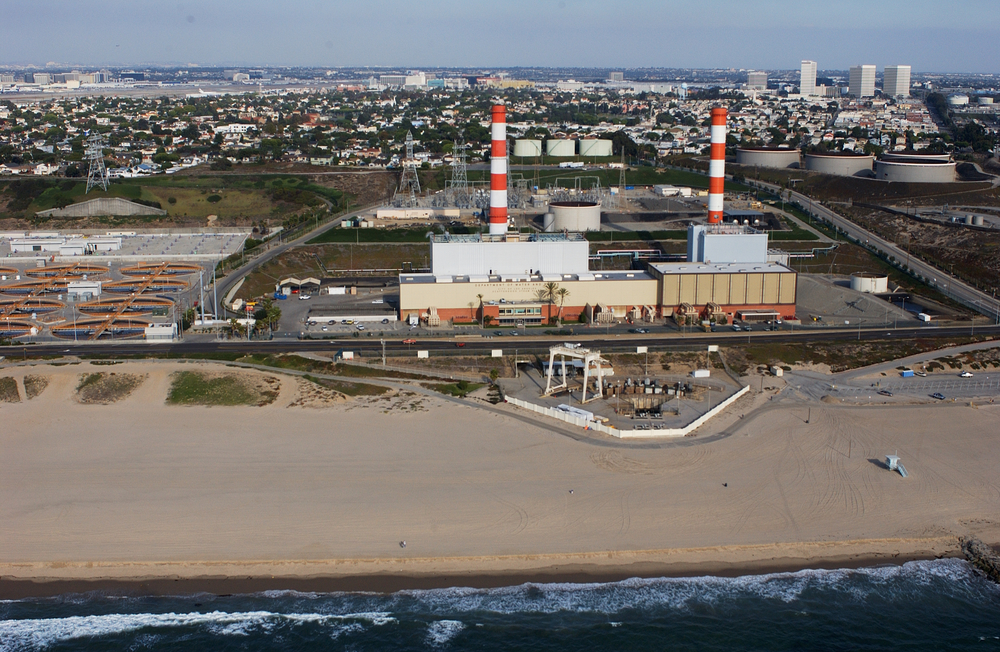 The Department of Water and Power's Scattergood Generating Station is located just above sea level and may be vulnerable to accelerated sea level rise. (Photo credit: Kenneth & Gabrielle Adelman, California Coastal Records Project, www.Californiacoastline.org)