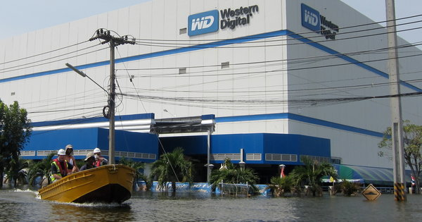 A Western Digital factory flooded by the 2011 Thailand floods. (http://www.nytimes.com/2011/11/07/business/global/07iht-floods07.html?pagewanted=all&_r=0)