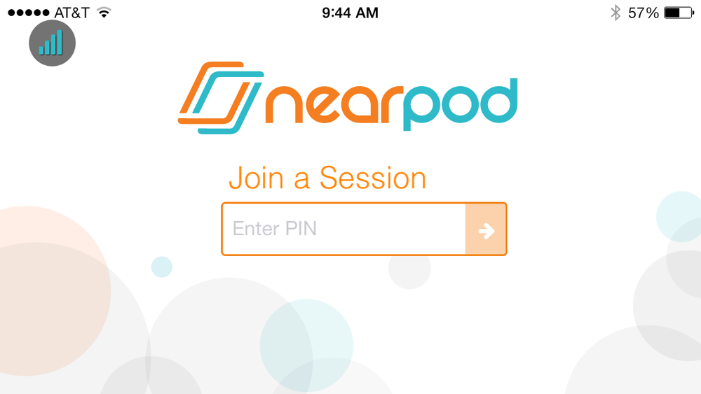 iPhone screenshot of what students would see when launching the Nearpod device