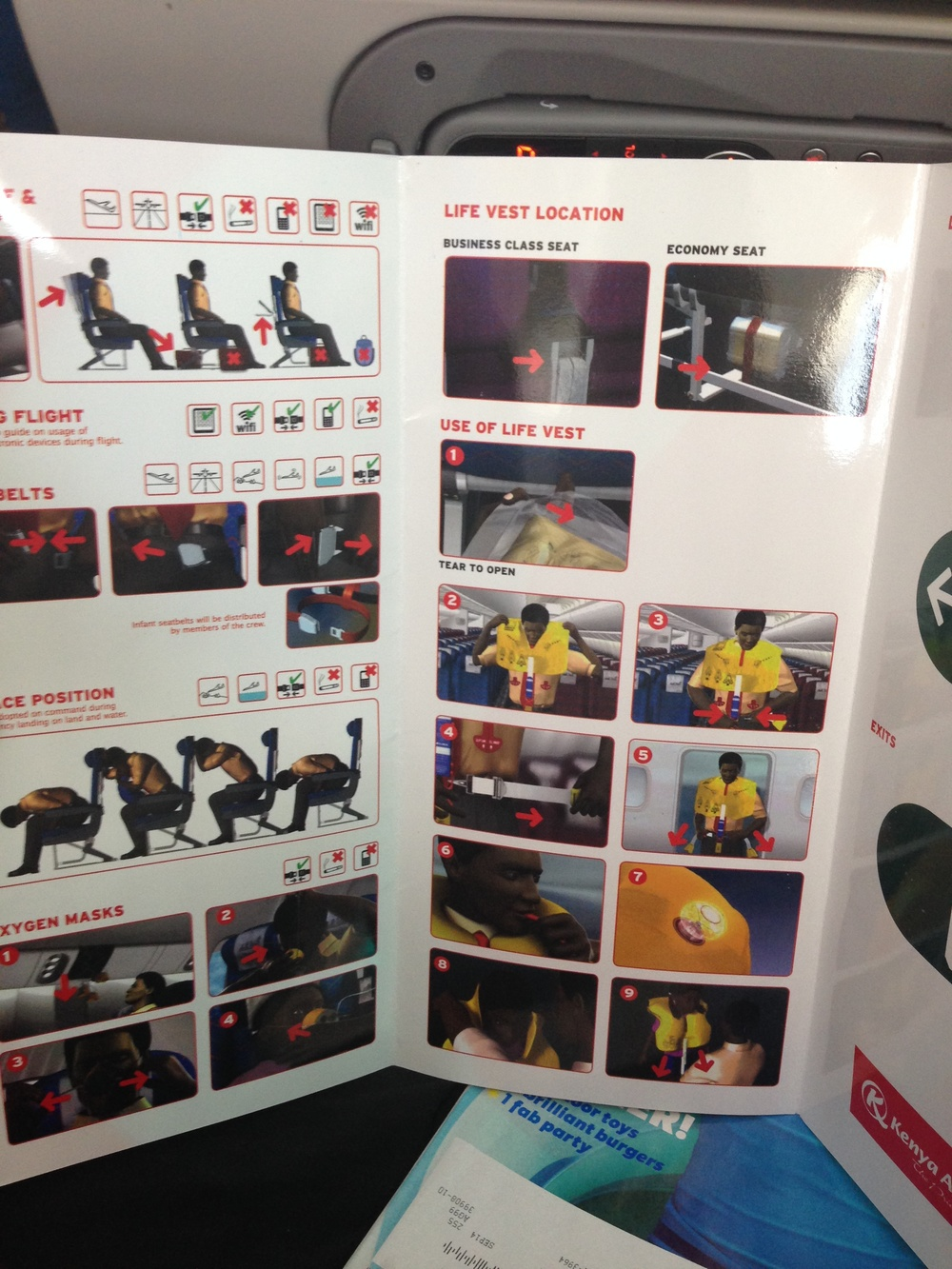 Anybody notice anything interesting about the safety instructions on Kenya Airways? Anybody?