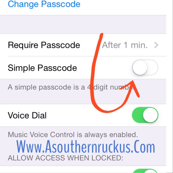 Most lunch numbers are more than 4 digits, so you can go into your general settings and switch simple passcode mode OFF. Now you can use any combination of numbers, letters, or characters as your passcode.