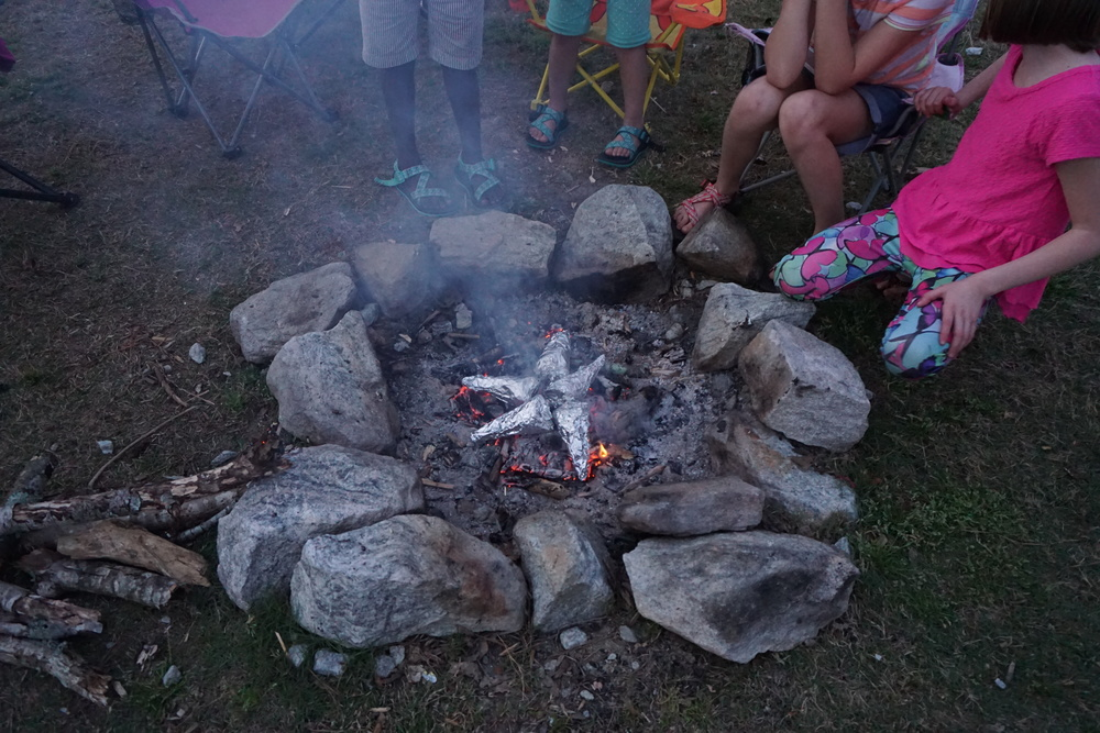 My three + some random kid who kept showing up at our campfire.