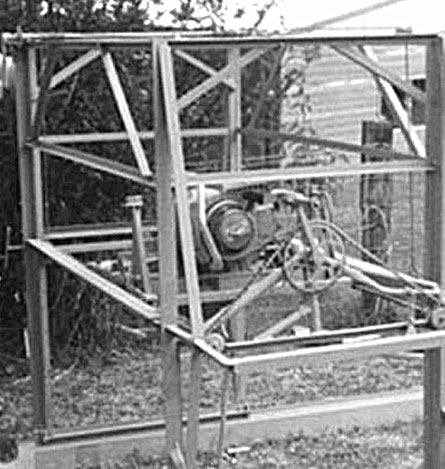 Carl Peterson's first prototype mill - manufactured from old bike parts!
