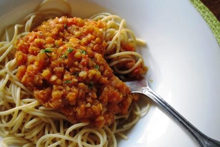 Garden Lentil Bolognese - recipe from Dunaway Dietetics