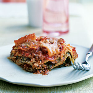 Pesto Lasagna with Spinach and Mushrooms - recipe from MyRecipes
