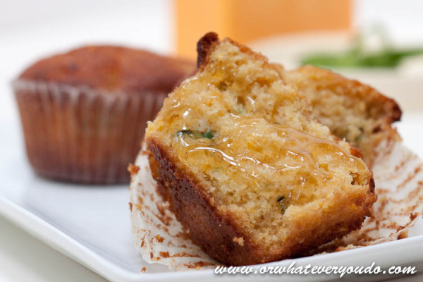 Jalapeno Cheddar Cornbread Muffins - recipe from Or Whatever You Do
