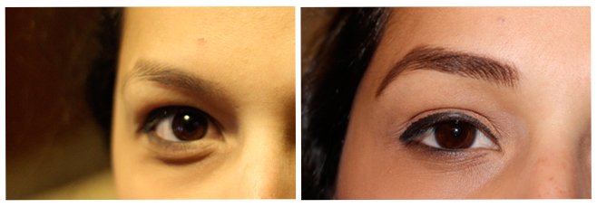 Normal, sad eyebrows (left) & e.l.f-ed up eyebrows (right)
