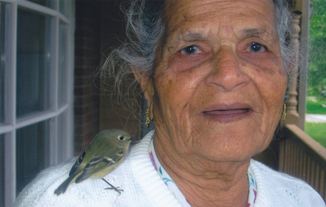 Ma, with a bird that she saved