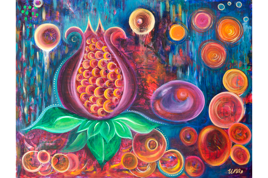 Lotus Pomegranate - Original SOLD - Prints Available
