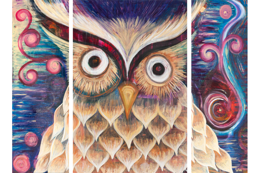 Owl Triptych - Original SOLD - Prints Available