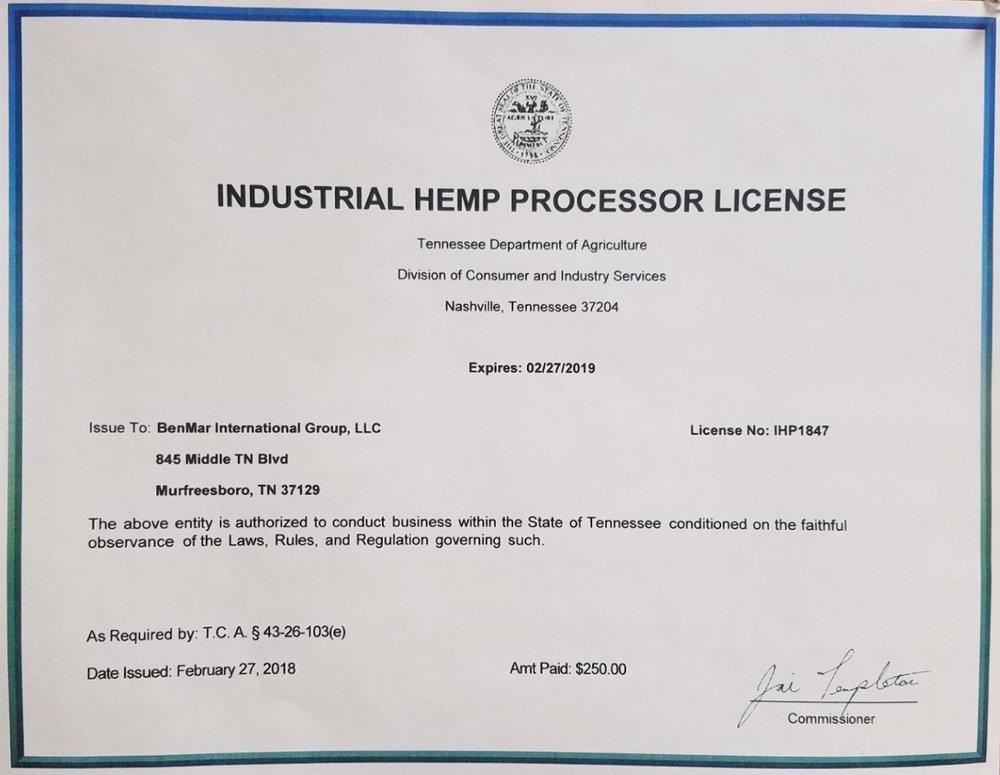 Hemp Processors License.jpeg