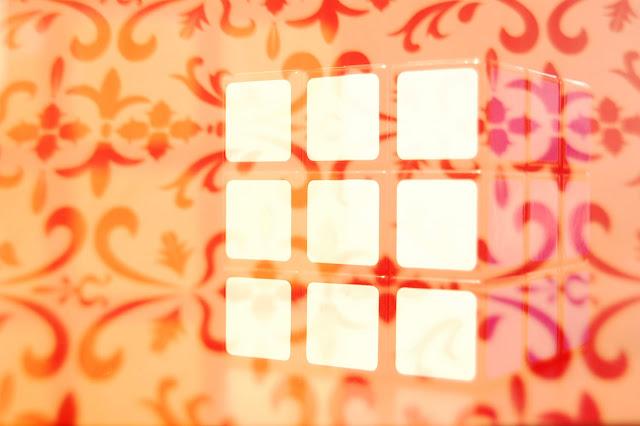 Rubix cube + girly printed paper