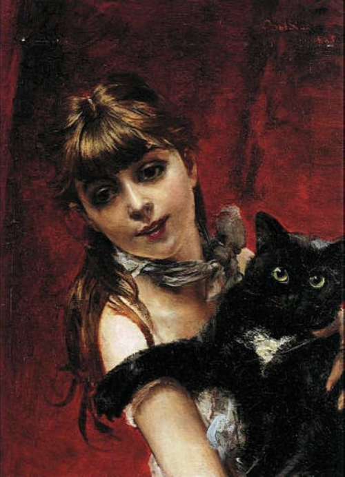 Giovanni Boldini, Girl with Black Cat, 1885