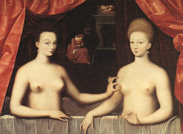 School of Fontainebleu, Gabrielle d'Éstrées and her Sister in a Bath, 1595