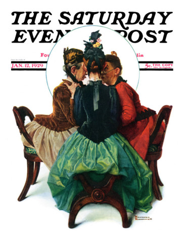 Norman Rockwell,  Three   Gossips  Saturday Evening Post Cover,   1929