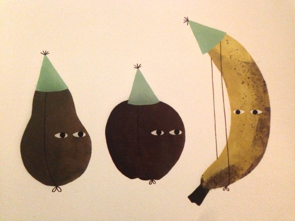 Party like a banana in a party hat. Card by  Jon Klassen  for  Red Cap Cards .
