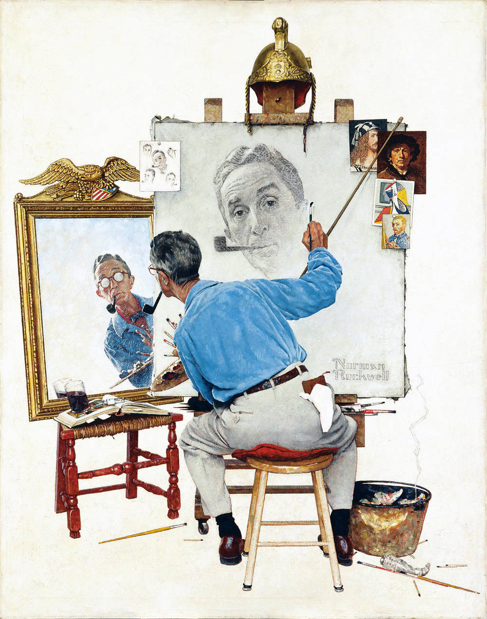 Normal Rockwell,   Triple Self-Portrait  , 1960
