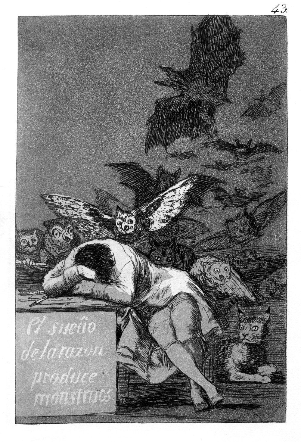 Goya,  The Sleep of Reasons Produces Monsters  , 1799