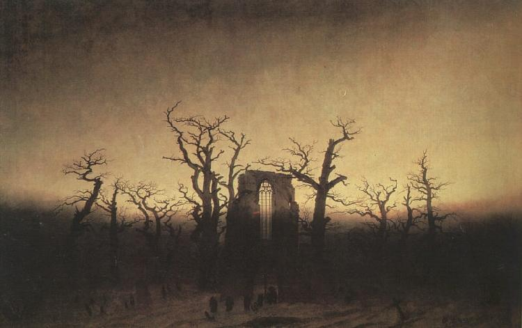 Caspar David Friedrich,  Abbey in an Oak Forest    , 1809