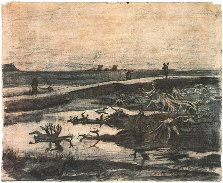 Vincent van Gogh,  Landscape with Bog-Oak Trunks , 1883