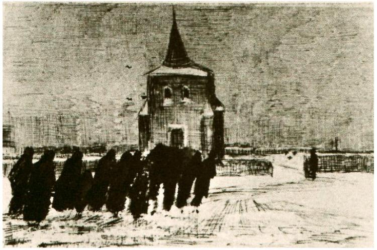 Vincent van Gogh,  Funeral in the Snow near the Old Tower,  1883