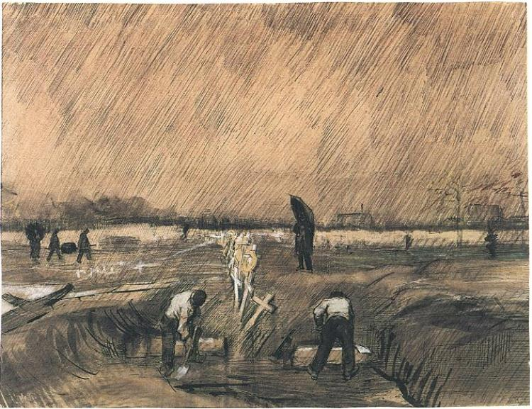 Vincent van Gogh,  Churchyard in the Rain , 1883