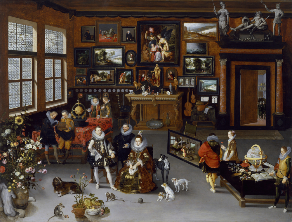 Jan Brueghel the Elder & Hieronymus Francken II,  The Archdukes Albert and Isabella Visiting a Collector's Cabinet,  1621–1623, The Walters Art Museum, Baltimore