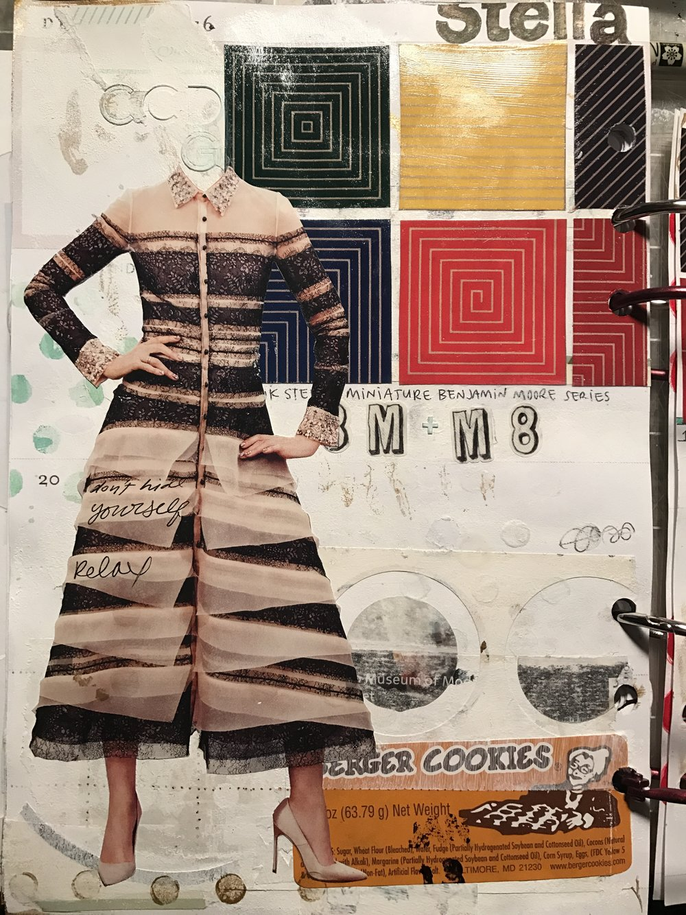 December 2016 journal page w Frank Stella's  Miniature Benjamin Moore Series , Valentino dress, and other bullshit