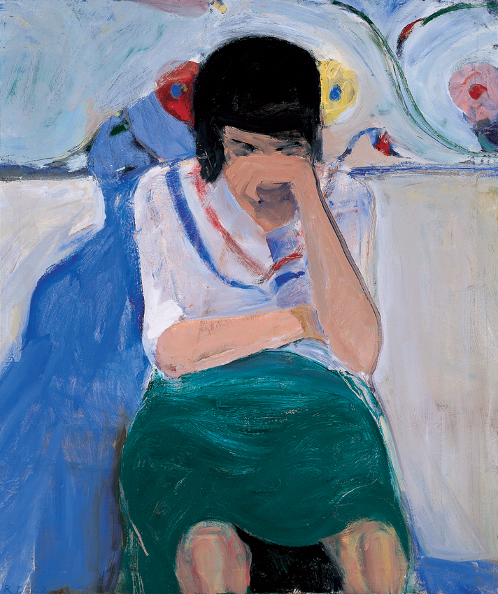 Richard Diebenkorn , Girl with Flowered Background , 1962