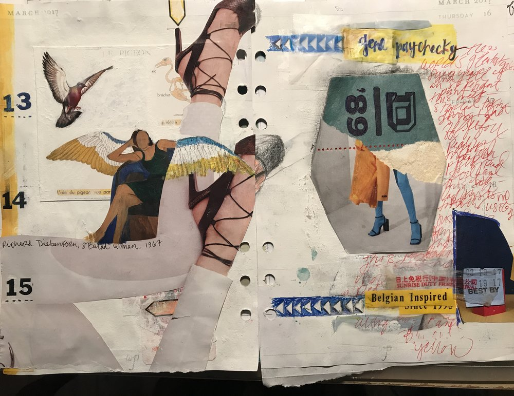 March 2017 journal page w Diebenkorn's  Seated Woman,  some   Balenciaga spring 17 feet, a pigeon postcard, coaster from a bar, watercolor, ink, and   listening to  Reverse Dallops  !!!