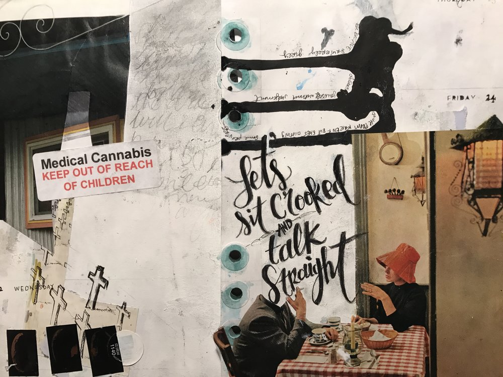 April 2017 journal pages w magazine photos, ink, stickers, and a proverb
