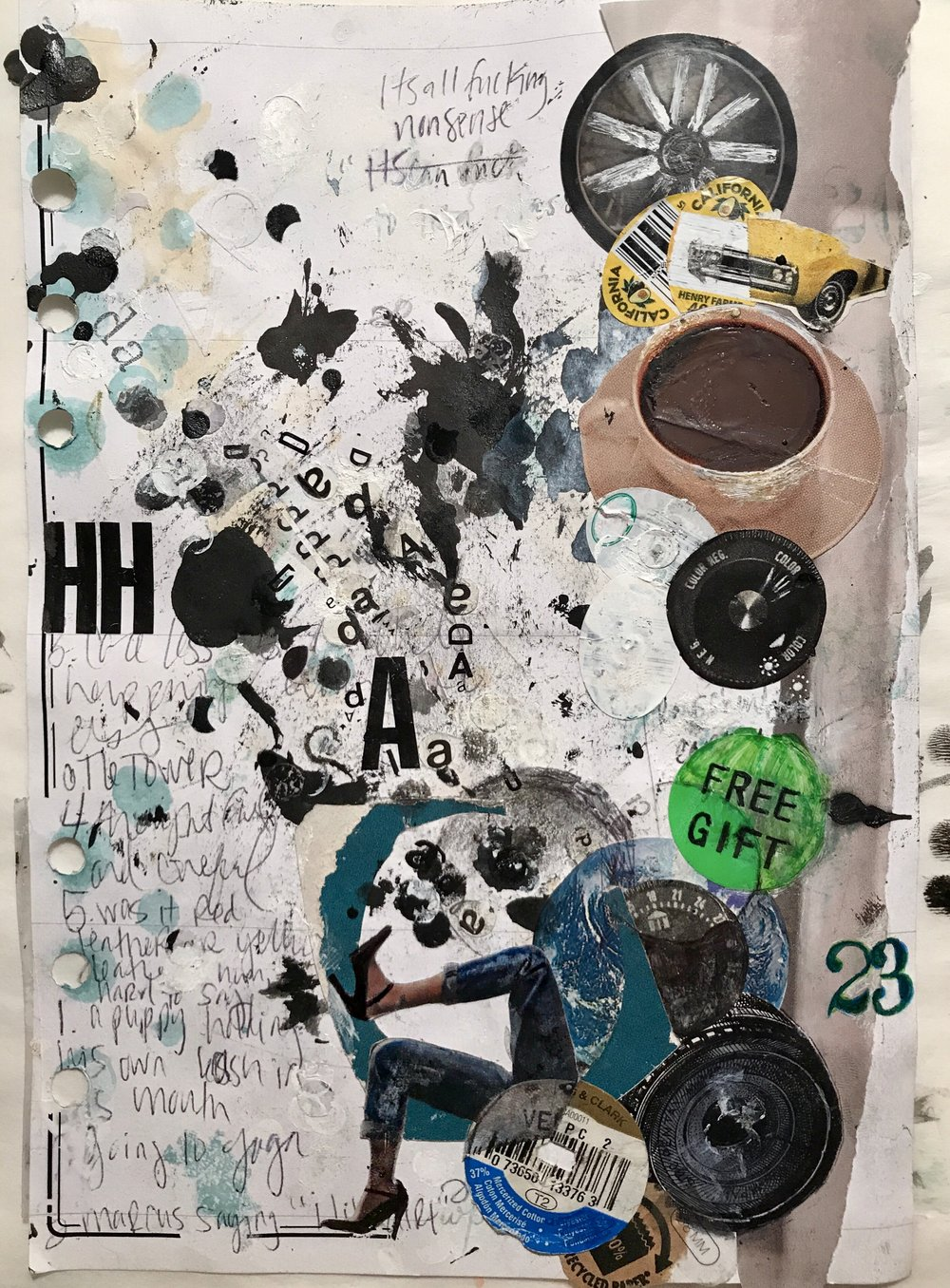 April 2017 journal page w vinyl letters, paper garbage, coffee, stickers, ink, and dreams of Hannah Höch 😻
