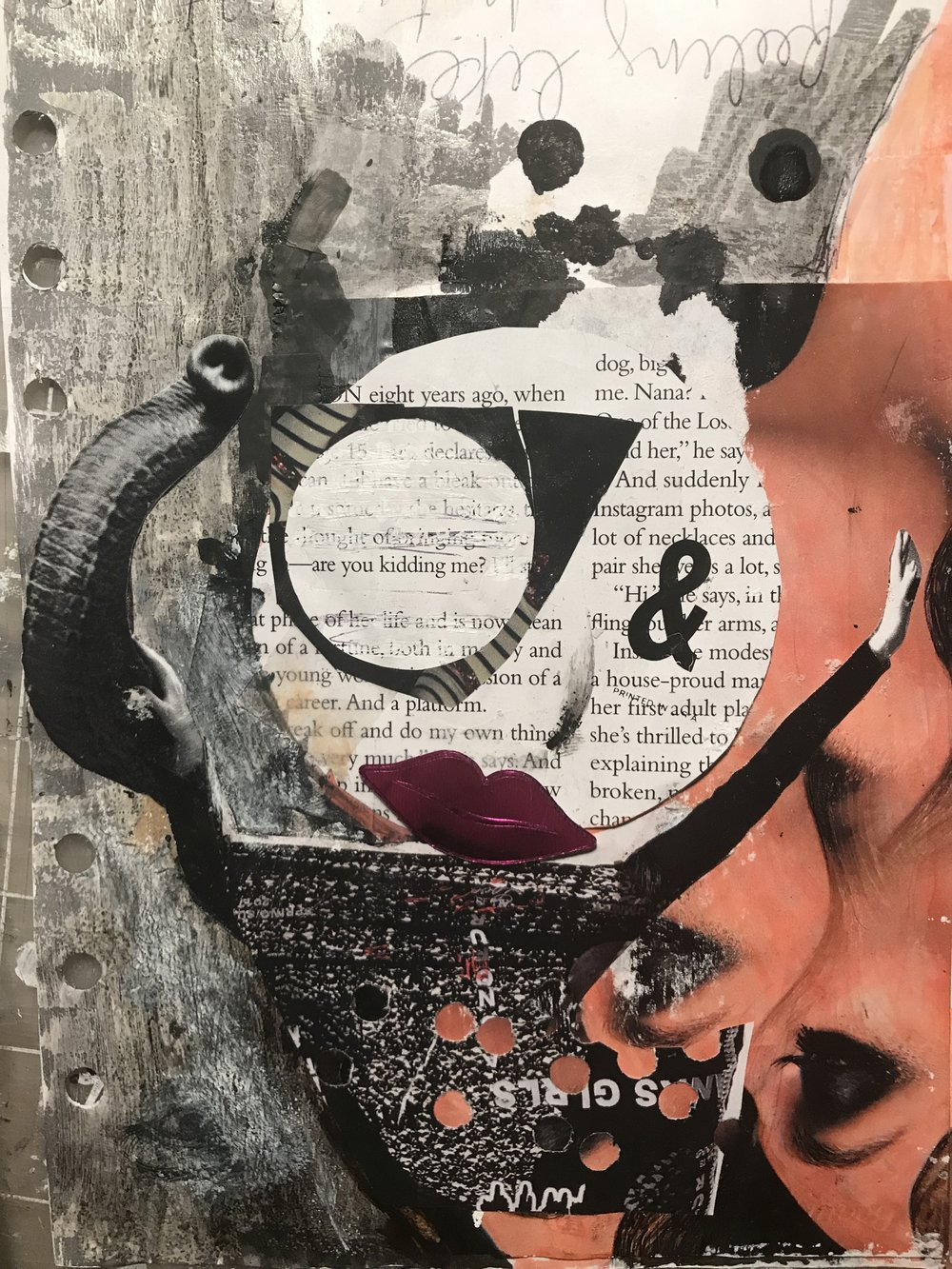 April journal page with lips, magazine photos, ink, gesso, iced tea, and a sticker