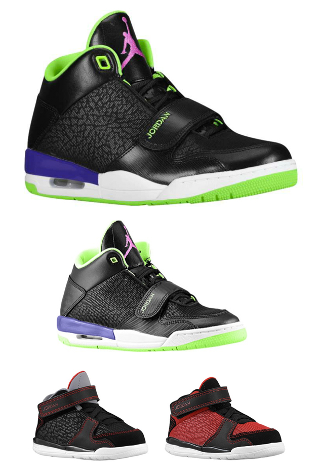 THE JORDAN FLIGHT CLUB 90 SHOWN IN MEN'S, GRADESCHOOL AND TODDLER VERSIONS, AVAILABLE ON FOOTLOCKER.COM.