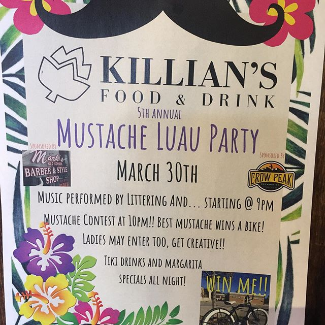 The best party of the year is this Saturday at Killians & you could win a bike courtesy of Crow Peak, Killians, Marks Barber Shop, and Rushmore Bikes!