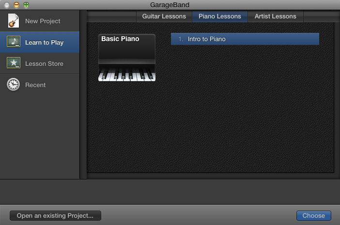 GarageBand for Mac: Get additional Learn to Play lessons